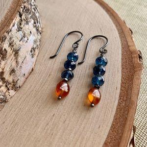 Jewelry - Glowing Amber Hessonite Garnet & Kyanite Earrings